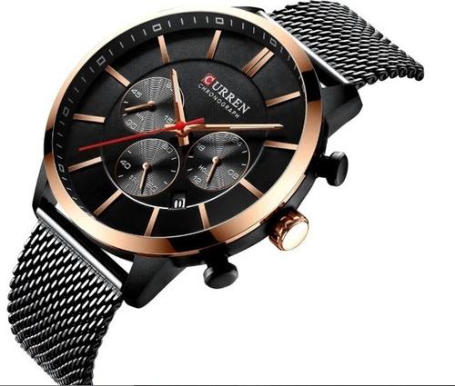 reloj curren chronograph quartz business men stainles- negro