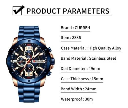 reloj curren de acero inoxidable impermeable para hombre