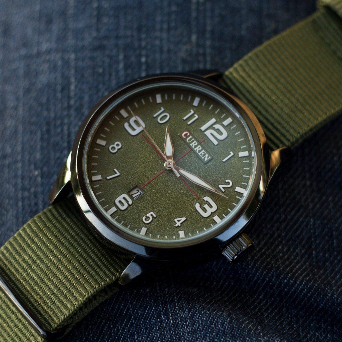 Verde Natos Militar Tela Reloj Curren Flieger Lona 2eDHEW9IY