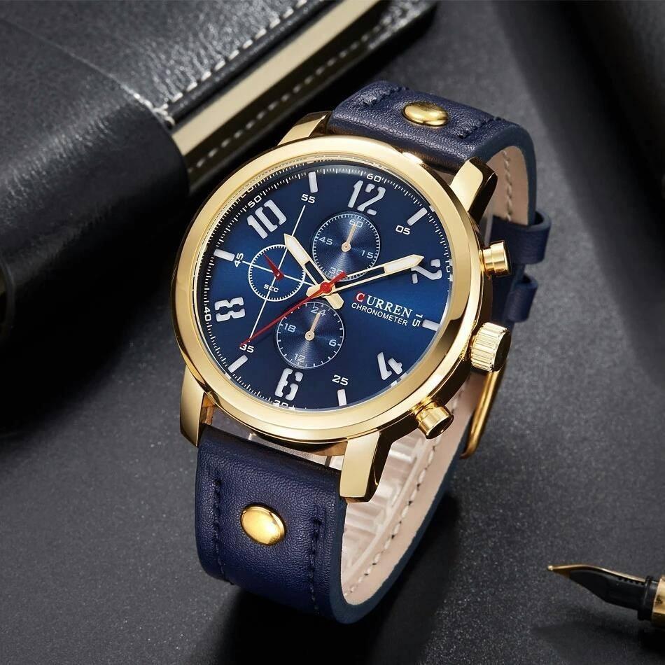 Reloj Curren Dorado-azul Piel Elegante Hombre -   429.00 en Mercado ... dd204b7e3e12