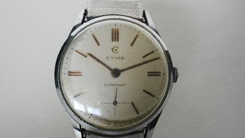 reloj cyma, modelo cymaflex tavannes, funcionando!