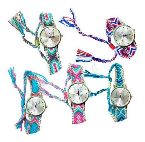 reloj dama artesanal pulsera de tela tejida a mano ajustable