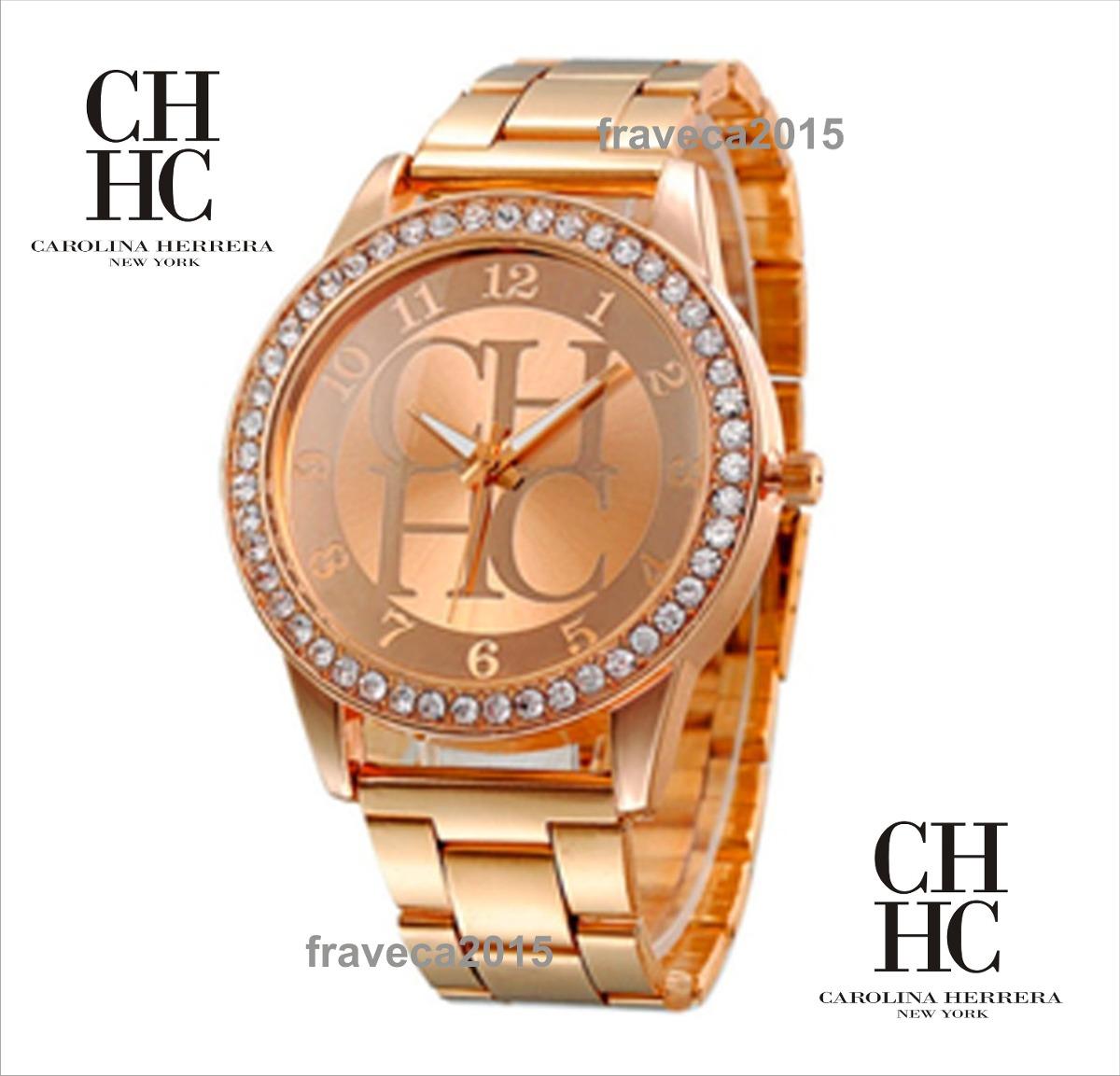 72cc45334e91 reloj dama carolina herrera con zilcones color bronce rosa. Cargando zoom.