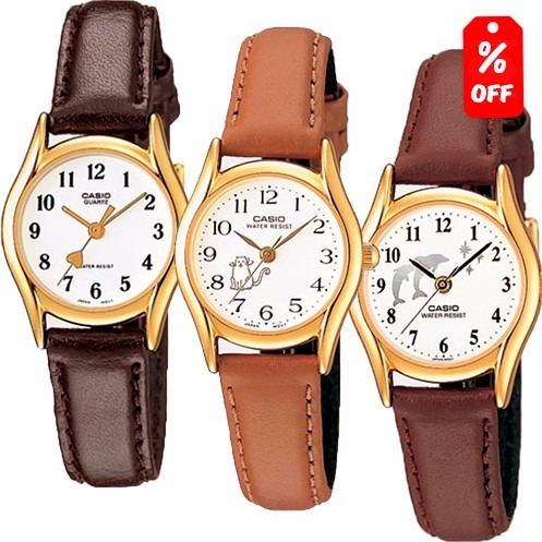 reloj dama casio ltp1094 piel - figuras - cfmx