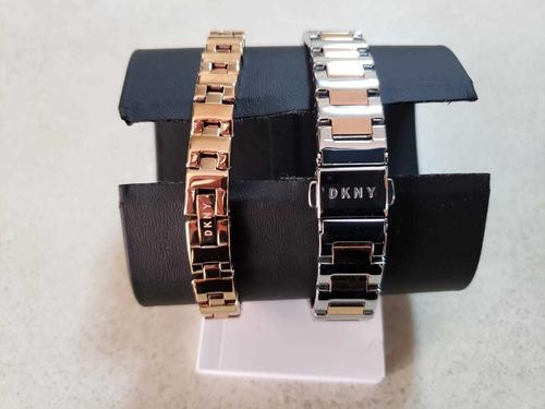 reloj dama dkny plata ny2643 más pulsera de regalo nuevo