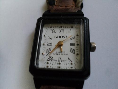 reloj dama ghost  negro fondo blanco malla cuero pila nueva