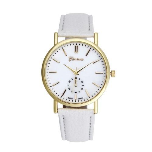 reloj dama mujer hombre pulsera unisex agujas malla cuero formal dorado caja blanco