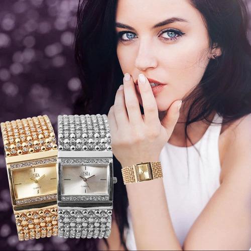 reloj dama pulsera circones de diseño dorado cuadrado