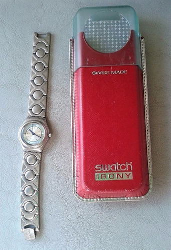 reloj dama swatch irony acero inoxidable plateado importado