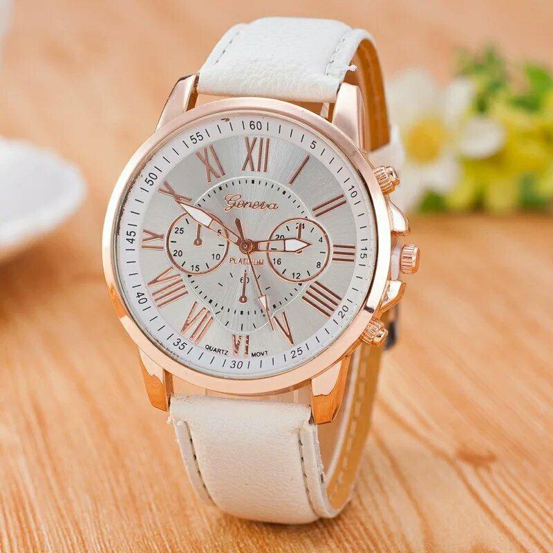 Reloj Dama Vintage Blanco Geneva Números Romanos Cuarzo 22000