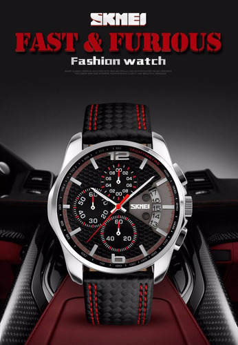 reloj daytona red cronografo piel genuina sumergible 50mts