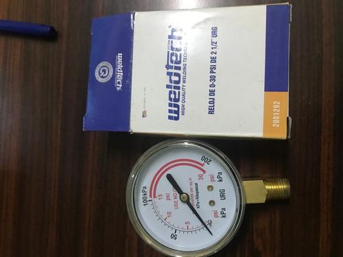 reloj de 0-30 psi de 2 1/2¨ urg
