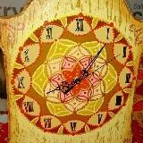 reloj de 40cm en madera pintado a mano