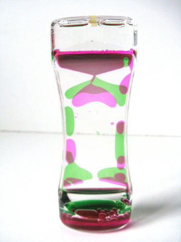 reloj de arena con aceite de colores deco adorno cordoba