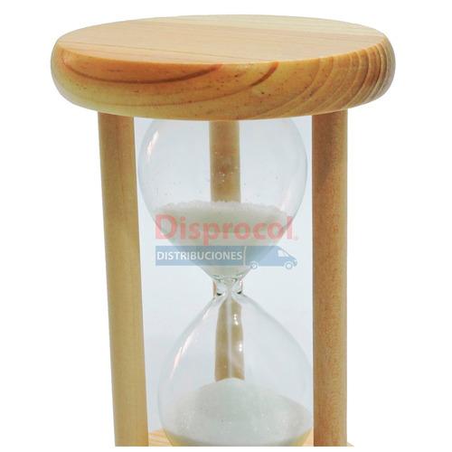 reloj de arena de 4 minutos en vidrio y madera de 13 cm