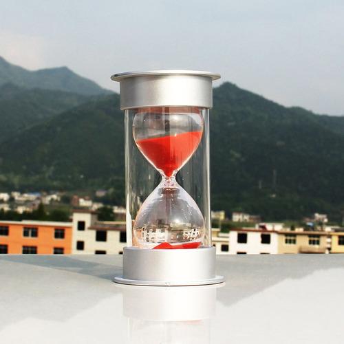 reloj de arena práctico de 30 minutos tapa plateada/rojo