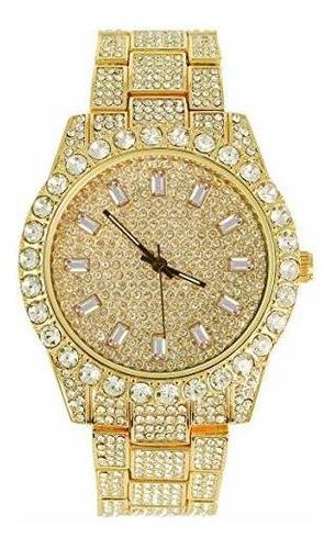 reloj de bisel dorado hip hop para hombre con diamantes cz |