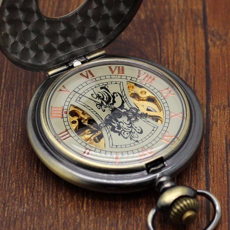 Reloj de bolsillo color bronce vintage cuerda cadena - Reloj de cadena ...
