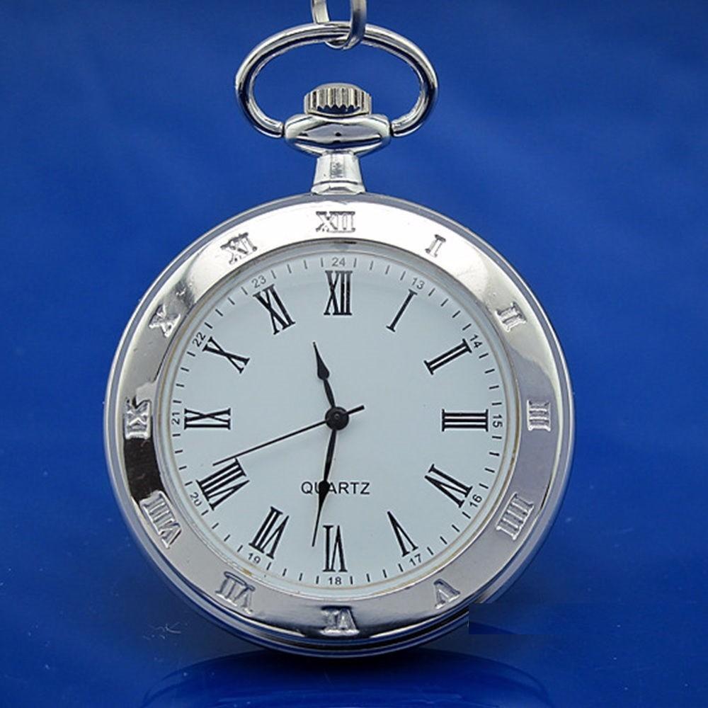 Reloj De Bolsillo Color Plateado Numeros Romanos Regalo 29900