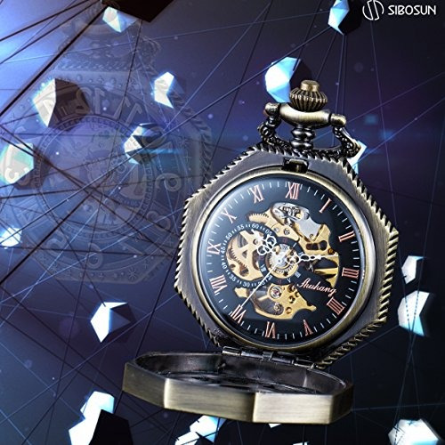 reloj de bolsillo esqueletico del estilo ferrocarril wenshid