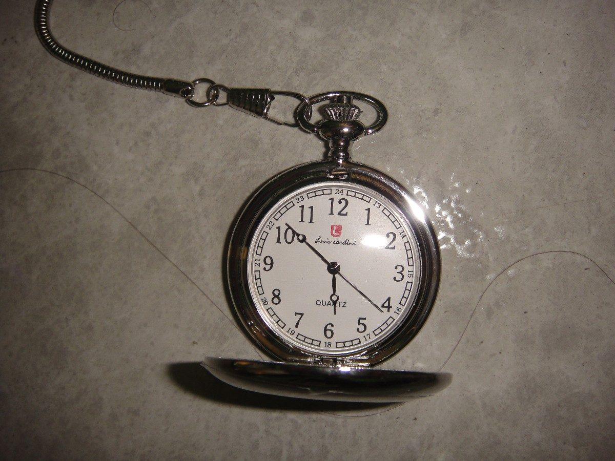 Reloj de bolsillo liso plateado 4 5 diametro 37 cm cadena - Reloj de cadena ...
