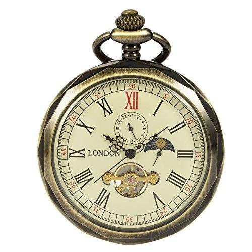 Reloj De Bolsillo Mecanico Manchda Bronce Numeros Romanos Ca