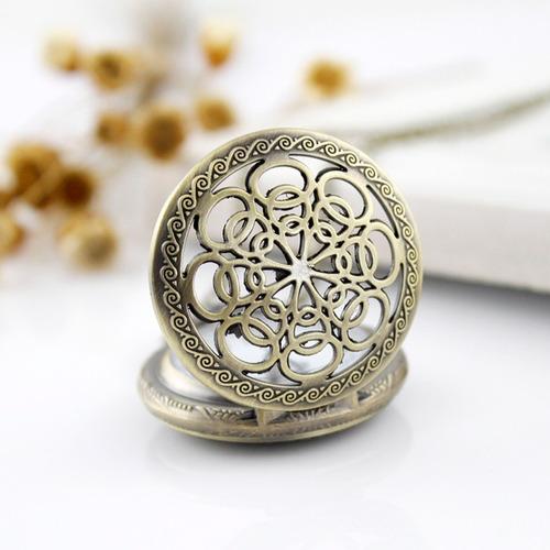 reloj de bolsillo o collar ovalos color bronce envejecido