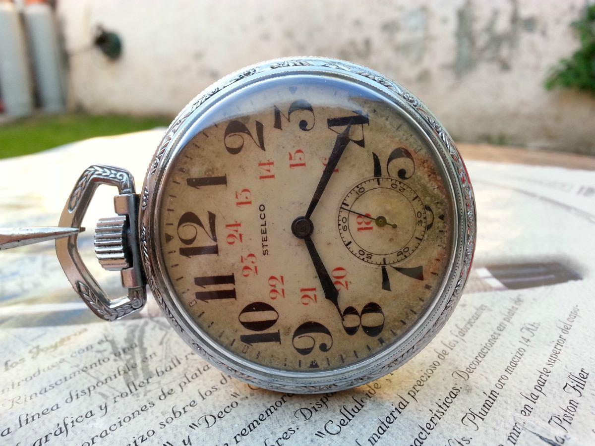 Reloj De Bolsillo Steelco Niquelado Antiguo Cuerda