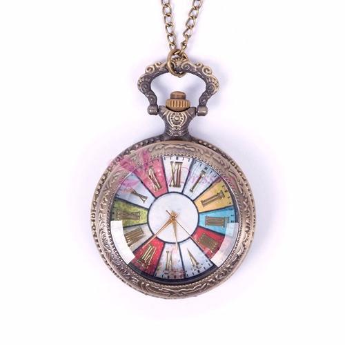 reloj de bolsillo tipo vintage manecillas romanas color mod1