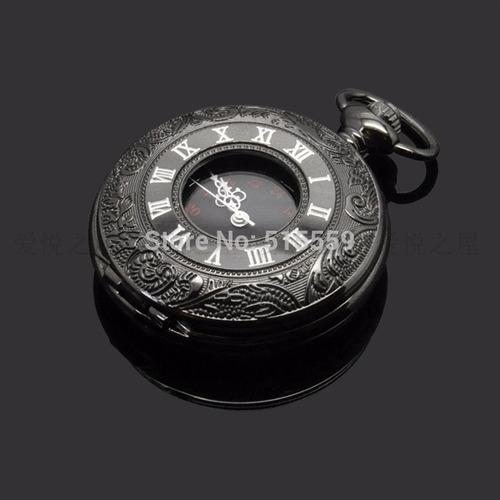 reloj de bolsillo tipo vintage negro manecillas romanas