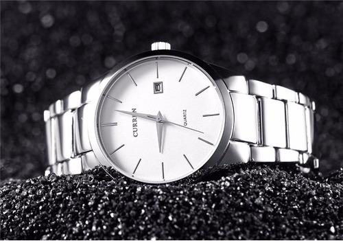 reloj de caballero curren silver and white elegante y casual