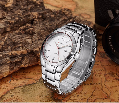reloj de caballero curren silver white elegante y casual