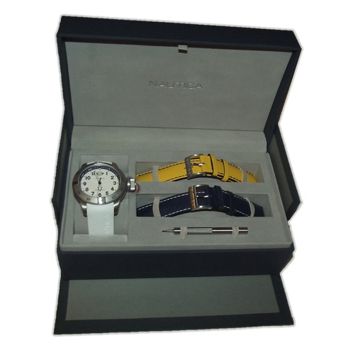 reloj de caballero nautica n14524g set 3 pzas 100% original