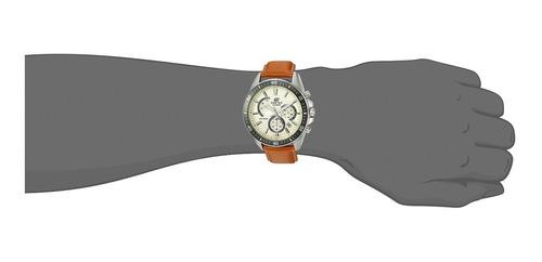 reloj de cuarzo de acero inoxidable y cuero casio para ho