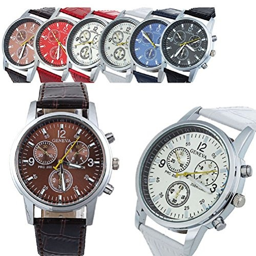 2b1b2b4b3f7f Reloj De Cuarzo De Cuero Geneva Para Hombre 6 Piezas Fiiliip -   113.777 en  Mercado Libre