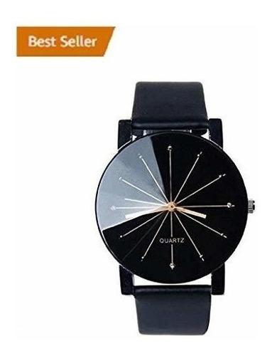reloj de cuero de la pu de cuarzo analógico negro para