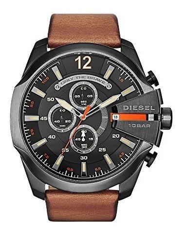 reloj de cuero diesel dz4343 mega chief de hombre marrón die