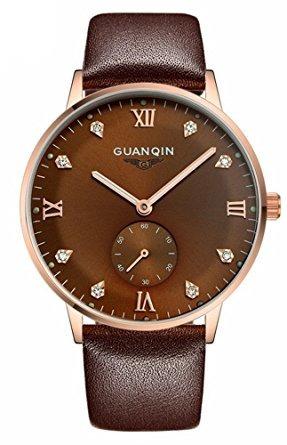 reloj de cuero marrón automático fanmis hombres luminosos