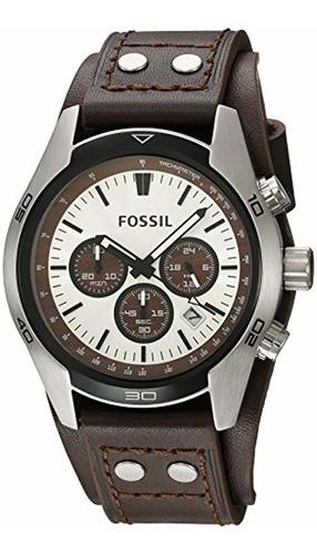 reloj de cuero marrón fossil ch2565 cuff cronógrafo tan