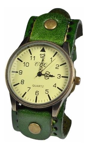 reloj de cuero vintaje con correa elegante ccq