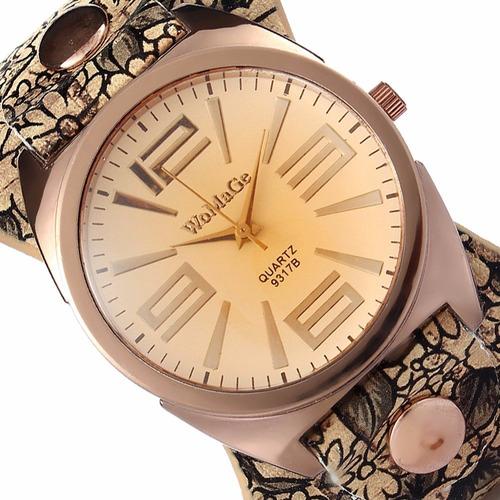 reloj de cuero vintaje con correa elegante womage