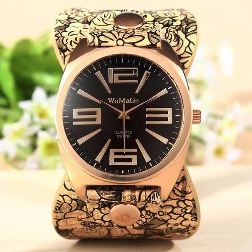 reloj de cuero vintaje con correa elegante womage + caja