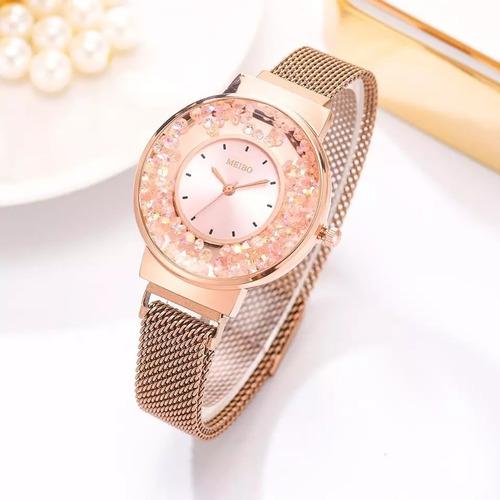 reloj de dama ate hebilla magnética de lujo color oro rosa