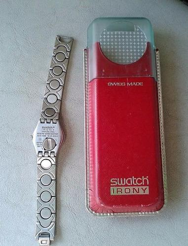 reloj de dama swatch irony acero inoxidable plateado import