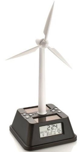reloj de escritorio de turbina eólica con energía solar