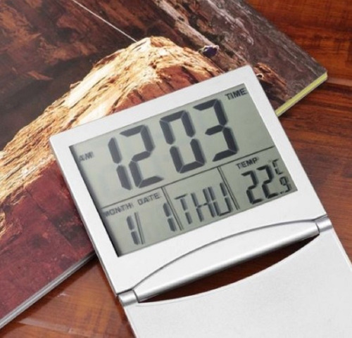 reloj de escritorio digital, alarma, termometro calendario