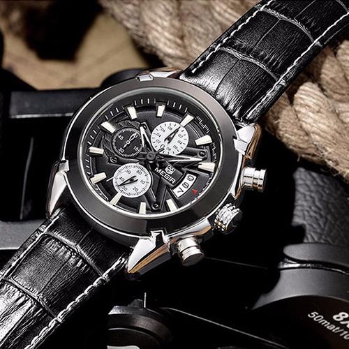reloj de hombre cuero negro cronógrafo megir