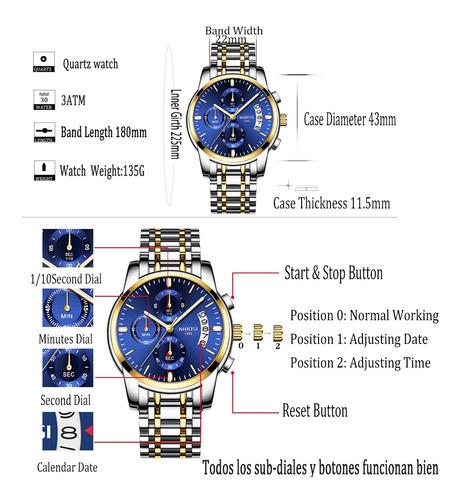 reloj de hombre nibosi metálico con cronógrafo 2019