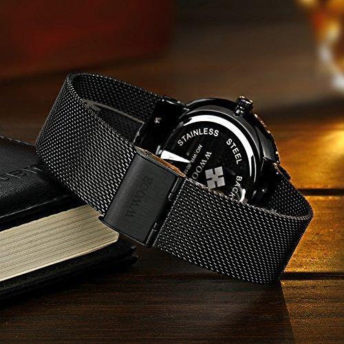 reloj de hombre wwoor, correa de malla de acero inoxidable,