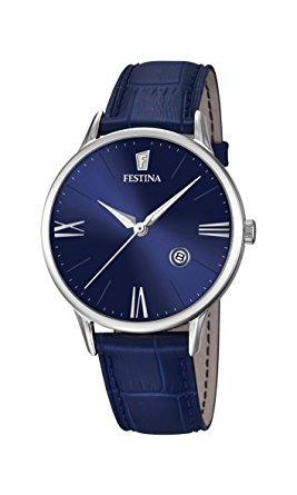 reloj de los hombres - festina - banda de cuero azul - fec